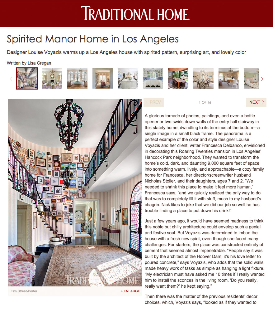 Louise Voyazis: Spirited Manor Home in Los Angeles, Written by Lisa Cregan, Photography by Tim Street-Porter, Traditional Home, April,2015